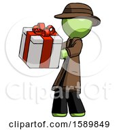 Green Detective Man Presenting A Present With Large Red Bow On It