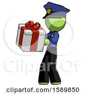 Green Police Man Presenting A Present With Large Red Bow On It