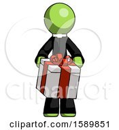 Green Clergy Man Gifting Present With Large Bow Front View