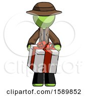 Green Detective Man Gifting Present With Large Bow Front View