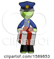 Green Police Man Gifting Present With Large Bow Front View