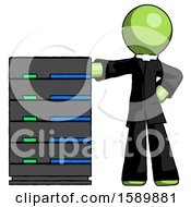 Green Clergy Man With Server Rack Leaning Confidently Against It