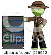 Green Detective Man With Server Rack Leaning Confidently Against It