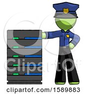 Green Police Man With Server Rack Leaning Confidently Against It