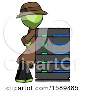 Green Detective Man Resting Against Server Rack