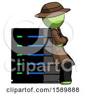 Green Detective Man Resting Against Server Rack Viewed At Angle