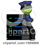 Green Police Man Resting Against Server Rack Viewed At Angle
