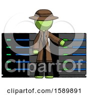Green Detective Man With Server Racks In Front Of Two Networked Systems