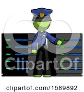 Green Police Man With Server Racks In Front Of Two Networked Systems