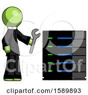 Green Clergy Man Server Administrator Doing Repairs