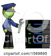 Green Police Man Server Administrator Doing Repairs