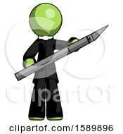 Green Clergy Man Holding Large Scalpel
