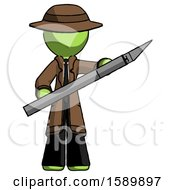 Green Detective Man Holding Large Scalpel