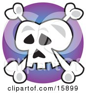Human Skull And Crossbones Jolly Roger Over Purple Clipart Illustration by Andy Nortnik