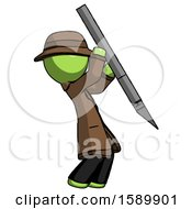 Green Detective Man Stabbing Or Cutting With Scalpel
