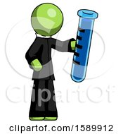 Green Clergy Man Holding Large Test Tube
