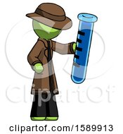 Green Detective Man Holding Large Test Tube
