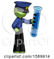 Green Police Man Holding Large Test Tube