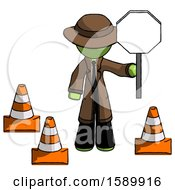 Green Detective Man Holding Stop Sign By Traffic Cones Under Construction Concept
