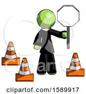 Green Clergy Man Holding Stop Sign By Traffic Cones Under Construction Concept