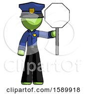 Green Police Man Holding Stop Sign