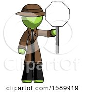 Green Detective Man Holding Stop Sign