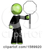 Green Clergy Man Holding Stop Sign