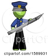 Green Police Man Holding Large Scalpel