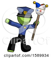 Green Police Man Holding Jester Staff Posing Charismatically