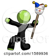 Green Clergy Man Holding Jester Staff Posing Charismatically