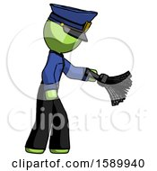 Green Police Man Dusting With Feather Duster Downwards