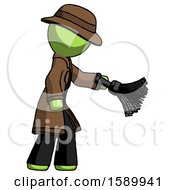 Green Detective Man Dusting With Feather Duster Downwards