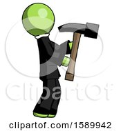 Green Clergy Man Hammering Something On The Right