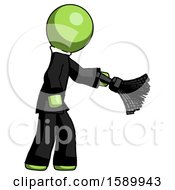 Green Clergy Man Dusting With Feather Duster Downwards