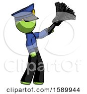 Green Police Man Dusting With Feather Duster Upwards