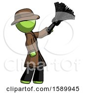 Green Detective Man Dusting With Feather Duster Upwards