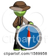 Green Detective Man Standing Beside Large Compass