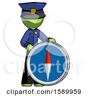 Green Police Man Standing Beside Large Compass