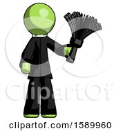Green Clergy Man Holding Feather Duster Facing Forward