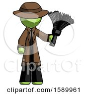 Green Detective Man Holding Feather Duster Facing Forward