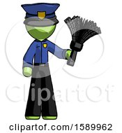 Green Police Man Holding Feather Duster Facing Forward