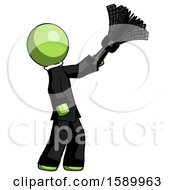 Green Clergy Man Dusting With Feather Duster Upwards