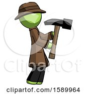 Green Detective Man Hammering Something On The Right