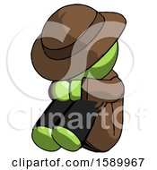Green Detective Man Sitting With Head Down Facing Angle Left