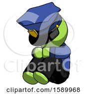 Green Police Man Sitting With Head Down Facing Angle Left