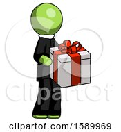 Green Clergy Man Giving A Present
