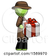 Green Detective Man Giving A Present