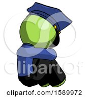 Green Police Man Sitting With Head Down Back View Facing Right