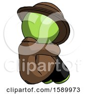 Green Detective Man Sitting With Head Down Back View Facing Right
