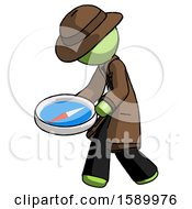 Green Detective Man Walking With Large Compass